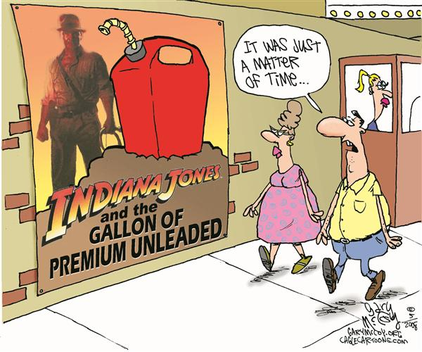 Gary McCoy - Cagle Cartoons - Indiana Jones Gassed COLOR - English - Gas Prices,Gas,OPEC,Crude Prices,Crude,Oil,Oil Prices,Big Oil,Indiana Jones,Temple of the Crystal Skull,Conservation