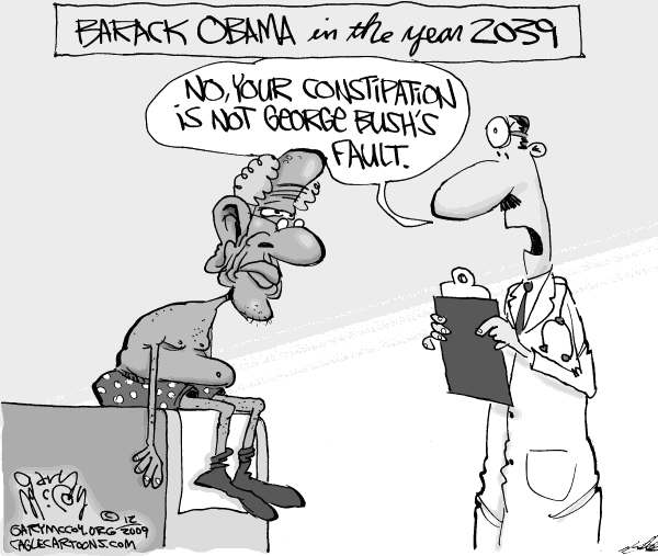 Gary McCoy - Cagle Cartoons - Blaming Bush - English - Barack Obama,President Obama,Obama,George Bush,President Bush,Blame,Economy,War,Afghanistan,Iraq,Terrorism,Unemployment,Wall Street,Recession,Bailout,Housing,Environment,Global Warming,Climate Change