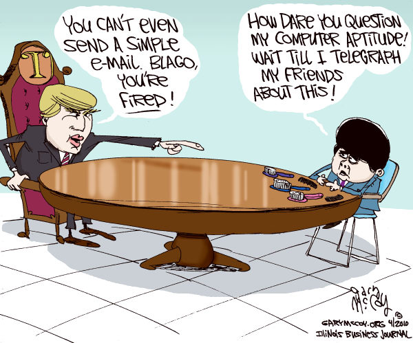 Gary McCoy - Cagle Cartoons - Trump Fires Blago COLOR - English - Donald Trump,Trump,The Donald,Rod Blagojevich,Blagojevich,Blago,Ex-Governor Blagojevich,Celebrity Apprentice,Youre Fired,Computer,Email,Gov Rod Blagojevich