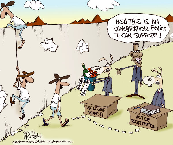 Gary McCoy - Cagle Cartoons - Dems Immigration COLOR - English - Immigration,Illegal Immigration,Illegal Immigrants,US Border,Arizona,Mexico,US-Mexican Border,Boycott,Undocumented Workers,Arizonas Republican Governor Jan Brewer,Jan Brewer,Barack Obama,Obama,President Obama,Immigration Law