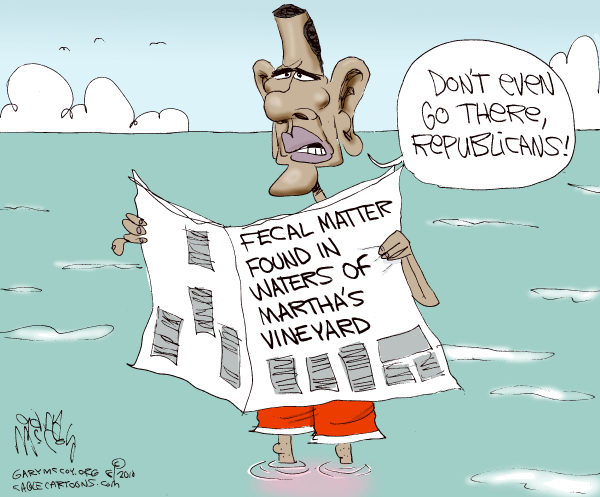 Gary McCoy - Cagle Cartoons - In Marthas Water COLOR - English - Barack Obama,Obama,President Obama,Marthas Vineyard,Fecal Matter,Contamination,Tainted,Republicans,President