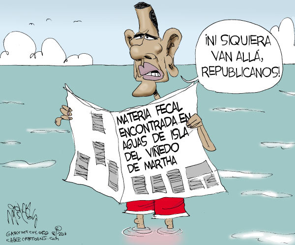 Gary McCoy - Cagle Cartoons - En Aguas del Viñedo de Martha / COLOR - English - Barack, Obama, presidente, USA, Isla, Viñedo, Martha, materia, fecal, contaminacion, Republicanos