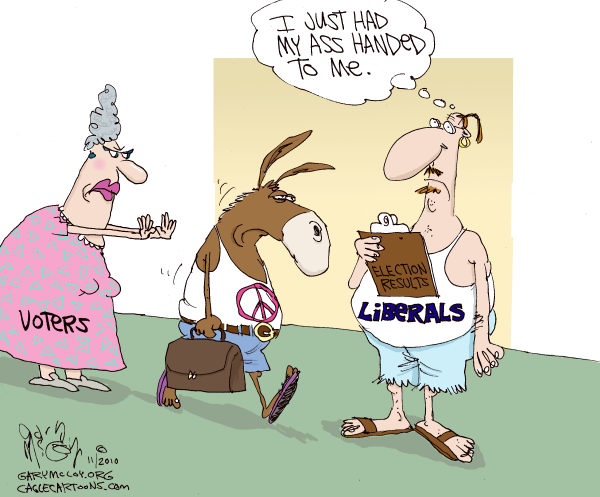 Gary McCoy - Cagle Cartoons - Liberals Lose COLOR - English - Liberals,Elections,Election Results,Democrat Losses,Republicans,Republicans Win,Conservatives,Tea Party,Voters, donkey, ass