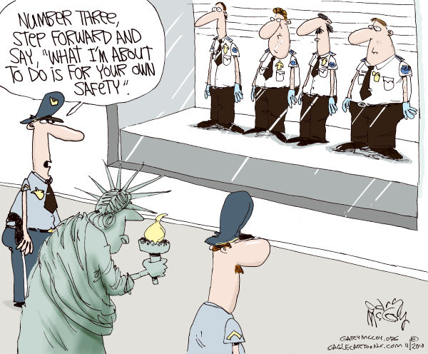Gary McCoy - Cagle Cartoons - TSA and Liberty COLOR - English - TSA,Transportation Security Administration,Airport Scanner,Screening Process,Enhanced Pat-Downs,Department of Homeland Security,Air Travel Safety,Bodily Search,Whole Body Scanners,AIT Scanners,TSA Agent,Airport Security
