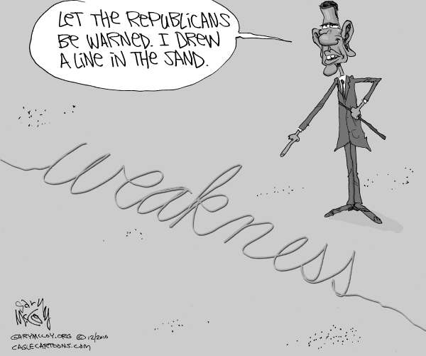 Gary McCoy - Cagle Cartoons - Obamas Weakness - English - Barack Obama,Obama,President Obama,Republicans,Senate Republicans,GOP,Weakness,Lame Duck,Middle-Class Tax Cut,Tax Cuts For Wealthy,Tax Deal,Bipartisan,Partisanship,Taxes,Class Warfare,Flip Flop,The Right