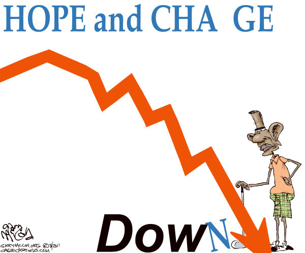 Gary McCoy - Cagle Cartoons - Obamas Dow COLOR - English - President Obama,Obama,Barack Obama,Recession,Economy,Dow Jones Industrial Average,The Dow,Dow Jones,Stock Market,Nasdaq,Plunging Market,Stocks,Market Dive,Bear Market,Savings,Hope And Change,Market Dive