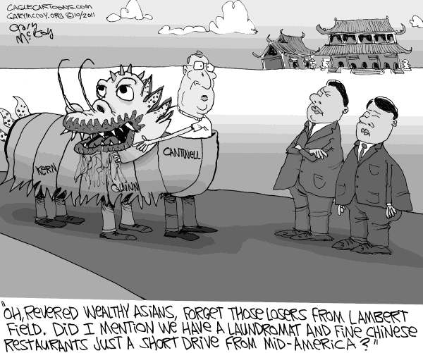 Gary McCoy - Cagle Cartoons - LOCAL-IL Courting Chinese Business - English - Illinois,IL,Mid-America Airport,Lambert Field,St Louis,Saint Louis,Mark Kern,Tim Cantwell,Gov Quinn,Governor Quinn,Illinois Governor Pat Quinn,Chinese,Chinese Business