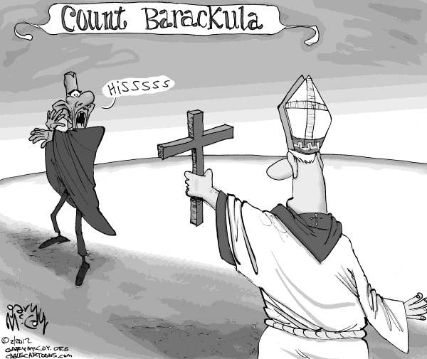 Gary McCoy - Cagle Cartoons - Count Barackula - English - Barack Obama,Obama,President Obama,Dracula,The Church,Catholic Church,Birth Control,Contraception,Morning After Pill,Abortifacient,Catholic Hospitals,Catholic Bishops,Separation Of Church And State,The First Amendment,Obamacare,Affordable Care Act