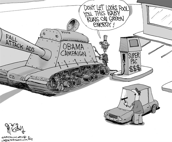 Gary McCoy - Cagle Cartoons - Obamas Super Pac - English -