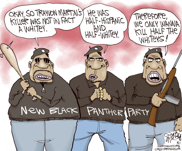 Gary McCoy - Cagle Cartoons - Black Panthers and Trayvon COLOR - English - Trayvon Martin,Trayvon,New Black Panther Party,George Zimmerman,Neighborhood Watch Volunteer,Neighborhood Watch,Stand Your Ground Law,Stand-Your-Ground Law,Florida Teen,New Black Panther Party for Self-Defense,NBPP,Vigilante Justice