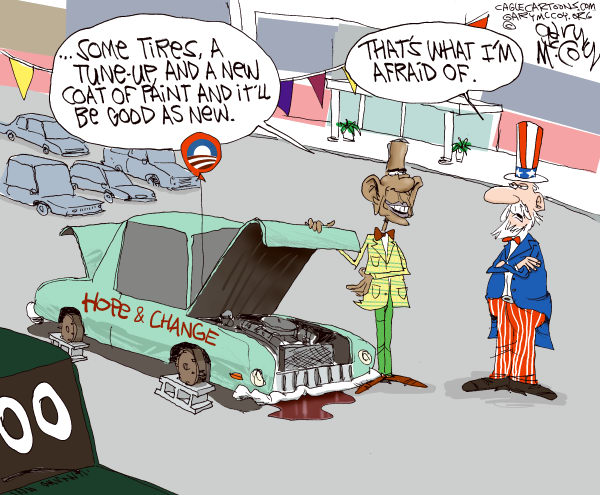 Gary McCoy - Cagle Cartoons - Re-selling Hope  Change COLOR - English - Hope And Change,Hope  Change,President Obama,Obama,Barack Obama,Uncle Sam,Policies,Old Policies,Campaign,Campaign Slogan