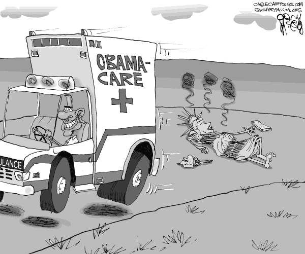 Gary McCoy - Cagle Cartoons - ObamaCare Kills Liberty - English - President Obama,President,Barack Obama,Obama,Barack,ObamaCare,Affordable Care Act,Universal Health Insurance,Statue Of Liberty,Lady Liberty,Ambulance,The Patient Protection and Affordable Care Act,Government Mandate,Tax,Freedon,Socialized Medicine