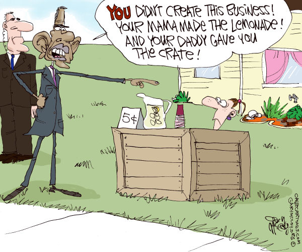 Gary McCoy - Cagle Cartoons - Obama Rips Business Owners COLOR - English - Obama,President,Barack Obama,President Obama,Business,Small Business,Small Business Owners,Bush Tax Cuts,Taxes,Entrepreneurs,Business Owners,Government,Infrastructure