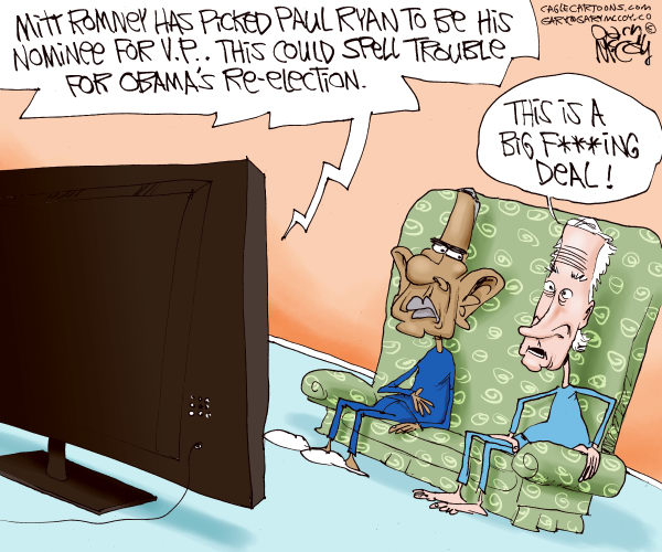Gary McCoy - Cagle Cartoons - Romney Picks Ryan COLOR - English - Mitt Romney,Romney,Gov Romney,Paul Ryan,Ryan,Rep Paul Ryan,US Representative Paul Ryan,Obama,President Obama,Barack Obama,Joe Biden,Biden,Vice President Joe Biden,VP,Vice President,Republican Vice Presidential Nominee,Big Fing Deal