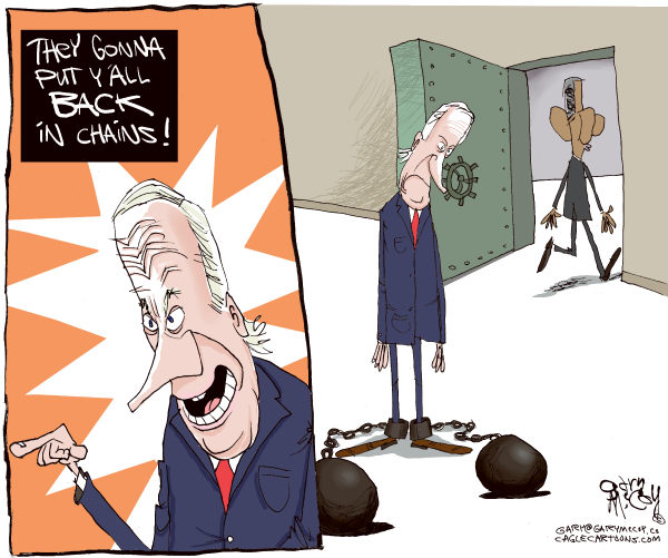 Gary McCoy - Cagle Cartoons - Biden Back In Chains COLOR - English - VP Joe Biden,Joe,Biden,Vice President Joe Biden,Black Vote,Racism,Veiled Racism,Racial Insensitivity,Gaffes,Danville,Unchain Wall Street,Shackles,Misspeak,Cadence,Barack Obama,Barack,Obama,President,President Obama,Back In Chains