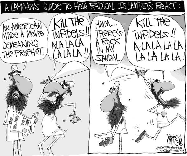 Gary McCoy - Cagle Cartoons - Radical Islamists React - English - Muslims,Islam,Radical Islam,Muslim Extremists,Radical Muslims,Radical Islamists,Prophet,Prophet Muhammad,Muhammad,Ambassador Christopher Stevens,Prophet Mohammed,Mohammed,Anti-Americanism,Benghazi Libya,Infidels,Innocence of Muslims