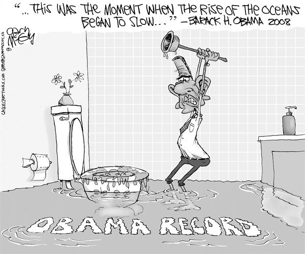 Gary McCoy - Cagle Cartoons - Obama's Rising Waters - English - Obama,Barack Obama,President Obama,Rise Of The Oceans,Recession,Obama Record,Economy,Weak Economy,Slow Recovery,Unemployment,Joblessness,GDP