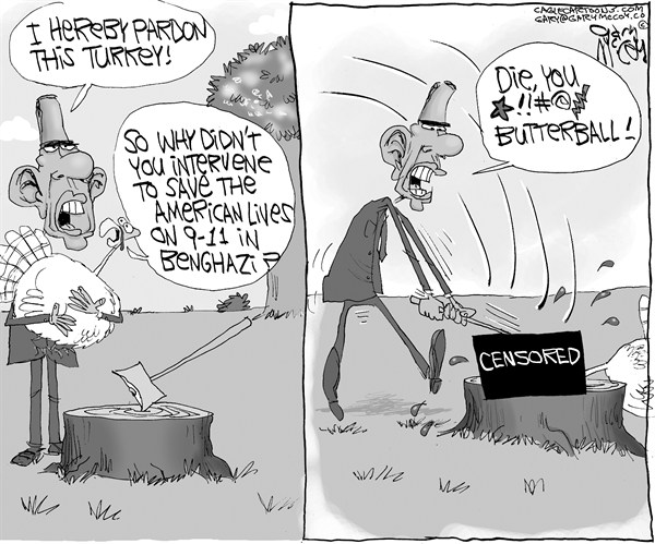 Gary McCoy - Cagle Cartoons - Obama Kills The Turkey - English - Benghazi,Libya,Benghazi Embassy,Libyan Ambassador Chris Stevens,Ambassador Chris Stevens,Terrorists,Barack Obama,Obama,President Obama,State Department,Dead Americans,US Consulate,September 11th,9/11,Hillary Clinton,Thanksgiving,Turkey,Pardon