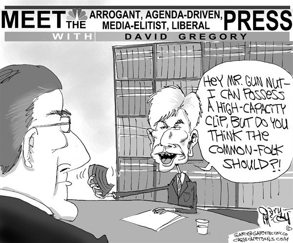 Gary McCoy - Cagle Cartoons - Gregory Above The Law - English - Newtown School District,Sandy Hook Elementary School,Adam Lanza,2nd Amendment,Children,Gun Control,NRA,Semi-automatic AR-15 Assault Rifle,gun debate,NBC,Meet The Press,David Gregory,Wayne LaPierre,National Rifle Association,High Capacity Clip