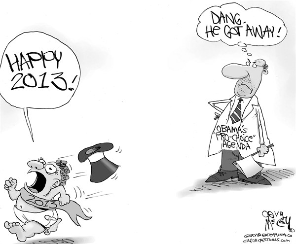 Gary McCoy - Cagle Cartoons - Un-Aborted New Year - English - New Year,2013,Baby New Year,Happy New Year,Abortion,Obama,President Obama,Barack Obama,Pro-Choice,Pro-Life,Right To Life,Abortion Survivors,Infanticide,Planned Parenthood
