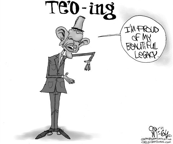 Gary McCoy - Cagle Cartoons - Obama Te'O-ing - English - President Obama,Barack Obama,Obama,President,Notre Dame Linebacker,Notre Dame,Manti Teo,TeO-ing,TeO,Girlfriend Hoax,Fake Relationship,Fighting Irish,Legacy,Obama Record,Manti