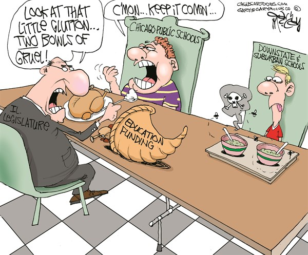 Gary McCoy - Cagle Cartoons - LOCAL-IL Chicago School Funding COLOR - English - Chicago Schools,Chicago Public Schools,Illinois Education,Illinois Downstate Schools,Illinois Education Funding,Education Funding,The Chicago Public Education Fund,CPS,Per-Pupil Budget,DHS,Low Income Students,Poverty Grants,PTELL,Suburban Schools