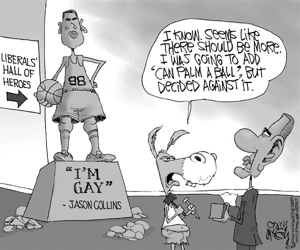 Gary McCoy - Cagle Cartoons - Obama's Hero Jason Collins - English - Obama,President Obama,Barack Obama,Jason Collins,Homosexuality,Gay,LGBT,Closet,Basketball,Washington Wizards,Basketball Player,Liberals,Gay Rights,Gay Marriage,Collins,Hero