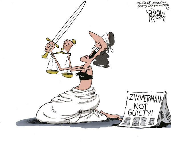 Gary McCoy - Cagle Cartoons - Zimmerman Verdict COLOR - English - Lady Justice,Justice,George Zimmerman,Trayvon Martin,Trayvon,Zimmerman,Stand Your Ground Law,Zimmerman Verdict,Zimmerman Trial,Mark OMara,Creepy-Ass Cracker,Sanford Florida,Racial Profiling,Black Teen,Al Sharpton,Neighborhood Watch Volunteer,Race