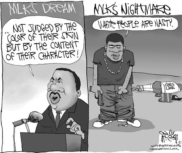Gary McCoy - Cagle Cartoons - MLK's Shattered Dream - English - Race,Black Crime,Chris Lane,Gang Initiation,Gangs,Gang Violence,Race Issues,Race Card,Black Teens,Black On White Crime,Crime,Guns,Gun Violence,Race,MLK,Martin Luther King Jr,Rev Martin Luther King Jr,Christopher Lane,James Francis Edwards Jr