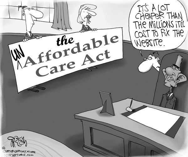 Gary McCoy - Cagle Cartoons - Un-Affordable Care Act - English - Obamacare,President Obama,Barack Obama,Affordable Care Act,State Exchanges,Website,Higher Health-Care Costs,Lie,Subsidies,Health Insurance,High Premiums,Healthcare Plans,HealthcareGov,Glitches,Socialized Medicine,Keep Your Plan