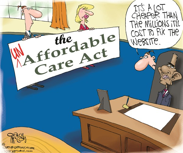 Gary McCoy - Cagle Cartoons - Un-Affordable Care Act COLOR - English - Obamacare,President Obama,Barack Obama,Affordable Care Act,State Exchanges,Website,Higher Health-Care Costs,Lie,Subsidies,Health Insurance,High Premiums,Healthcare Plans,HealthcareGov,Glitches,Socialized Medicine,Keep Your Plan
