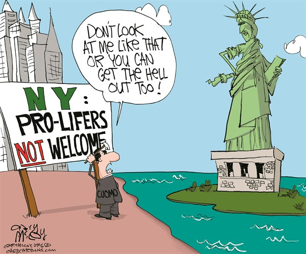 Gary McCoy - Cagle Cartoons - Cuomo Wants Pro-Lifers Out COLOR - English - New York Gov Andrew Cuomo,Cuomo,Gov Cuomo,New York,NY,Assault-Weapon,Gay,Pro-life,Pro-Lifers,Conservatives,Republicans,Moderate Republicans,Abortion,Right-To-Life,Pro-Choice,Liberals,Infanticide,Extreme Conservatives