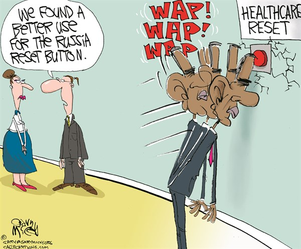 Gary McCoy - Cagle Cartoons - Healthcare Reset COLOR - English - President Obama,Healthcare,Obamacare,Russia,Putin,Ukraine,Crimea,Russia,Revolution,Ukrainian Sovereignty,Foreign Policy,Affordable Care Act,Open-Enrollment Period,Delays,Roll-Out,Reset Button,Employer Mandate,Exchanges,Medicaid Expansion,Uninsured