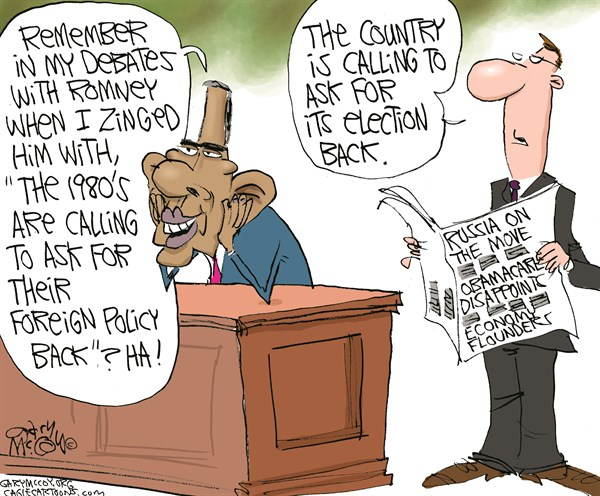 Gary McCoy - Cagle Cartoons - Country Rejecting Obama COLOR - English - Obama,Healthcare,Obamacare,Affordable Care Act,Open-Enrollment Period,Delays,Roll-Out,Exchanges,Medicaid Expansion,HHS,Kathleen Sebelius,IRS,HealthcareGov,Socialized Medicine,Vladimir Putin,Ukraine,Crimea,Russia,Kiev,Crimea,NATO,Sanctions,Approval
