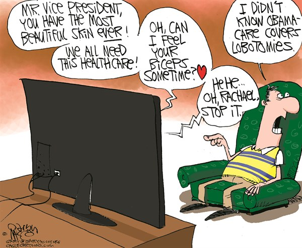 Gary McCoy - Cagle Cartoons - Rachael Ray  Biden COLOR - English - Rachael Ray,Joe Biden,Vice-President,Biden,Obama,Healthcare,Obamacare,Affordable Care Act,Open-Enrollment Period,Delays,Roll-Out,Exchanges,Medicaid Expansion,HHS,Kathleen Sebelius,IRS,HealthcareGov,Socialized Medicine,Individual Mandate