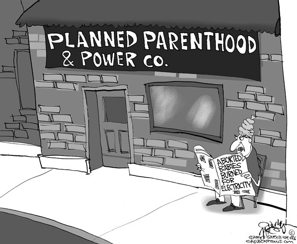 Gary McCoy - Cagle Cartoons - Electricity From Abortions - English - Planned Parenthood,Pro-Life,Abortions,Infanticide,Babies,Medical Waste,Aborted Babies,Covanta Waste-to-Energy Facility,Fetuses,NARAL,Portland General Electric,Oregon,Reproductive Rights,Pro-Abortion,Pro-Choice,Life,Energy,Power,Electricity