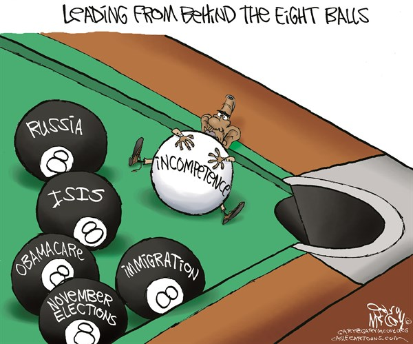 Obama Behind 8 Balls © Gary McCoy,Cagle Cartoons,ISIS,Islamic State,Obamacare,Islamic State In Iraq And Syria,Sunni,November Elections,Ukraine,ISIL,Jihadist,Militants,Radicals,Extremists,Beheadings,Terrorists,Caliphate,Assad,Steven Sotloff,James Foley,Syrian Rebels,Ground Troops,Coalition,Arab,Polls