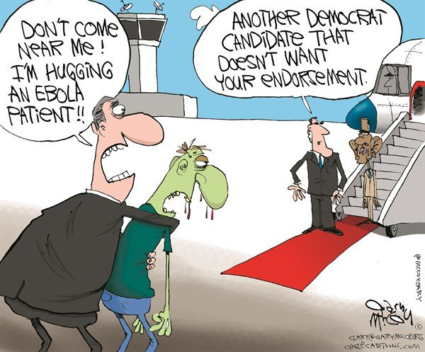 Democrats Avoid Obama © Gary McCoy,Cagle Cartoons,November Elections,Polls,Unfavorable,Midterm Election, Ebola,Virus,West Africa,CDC,Outbreak,Disease,Centers for Disease Control and Prevention,Sen Mark Pryor,Sen Mary L Landrieu,Sen Mark Begich,Sen Mark Udall,Jeanne Shaheen