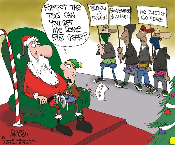 Riot Gear For Christmas © Gary McCoy,Cagle Cartoons,Ferguson,Darren Wilson,Michael Brown,Race,Racism,Protesters,Protesters,Civil Disobedience,Civil Unrest,Al Sharpton,Eric Holder,Grand Jury,Verdict,Looting,Riots,Grand Jury Verdict,Robert McCulloch,Protests,Malls,Riots,Riot Gear,Mall Santa