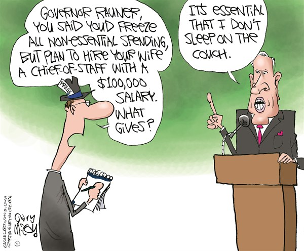 Gov Rauner  Essential SpendingLOCAL IL © Gary McCoy,Cagle Cartoons,Gov Rauner,Gov Bruce Rauner,Bruce Rauner,Illinois Governor,Diana Rauner,Compassionate And Competitive,Non-Essential State Spending,Executive Order,Lance Trover,Ounce Of Prevention Fund,Illinois First Lady,Illinois,Springfield,Dollar,Budget,Spending