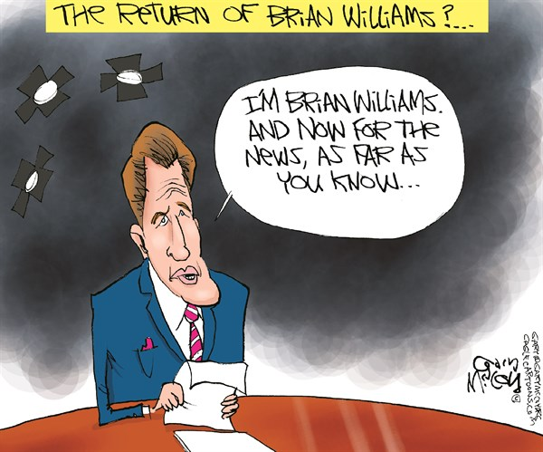 Brian Williams Returns © Gary McCoy,Cagle Cartoons,Brian Williams,NBC,Network News,NBC Nightly News,Lies,Misremembered,Hurricane Katrina,Iraq Incident,Dan Rather,Helicopter,RPG,News Anchor,Rocket-Propelled Grenade,Fog Of Memory
