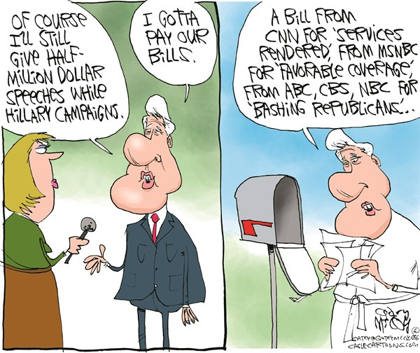Bill's Gotta Pay Bills © Gary McCoy,Cagle Cartoons,Bill Clinton,Speaking Fees,Speeches,State Department,Clinton Cash,Clinton Foundation,Foreign Donations,Russian/Kazakh Uranium Deal,Foreign Donors,Hillary Clinton,Bills,Foreign-Financed Speeches,Campaign Money