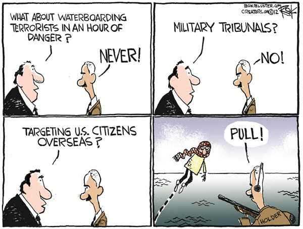 Targeting Overseas © Chip Bok,The Akron (Ohio) Beacon Journal,target,waterboarding,holder,guns,citizens