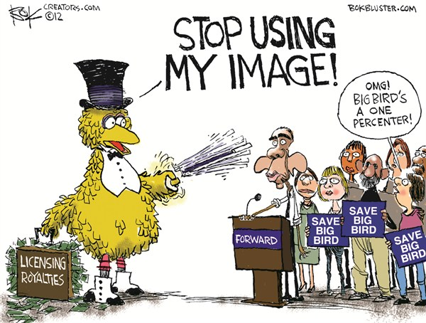 Big Birds Image © Chip Bok,The Akron (Ohio) Beacon Journal,obama forward,big bird,1 percent,licensing,image,royalties,sesame street