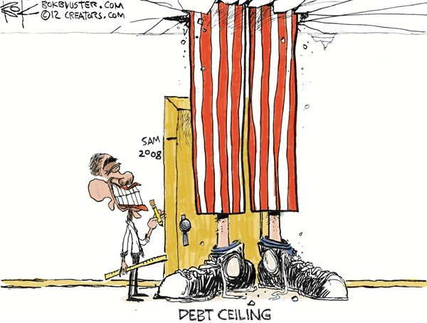 Debt Ceiling © Chip Bok,The Akron (Ohio) Beacon Journal,debt,ceiling,obama,america,money