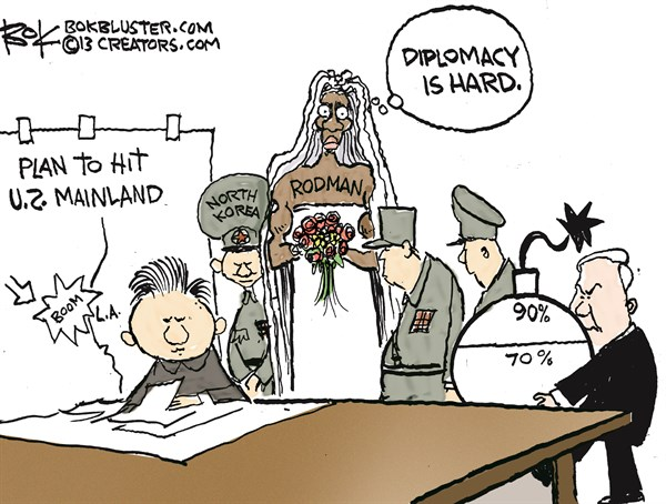 Diplomacy is Hard © Chip Bok,The Akron (Ohio) Beacon Journal,north korea nukes,north korea,nuclear,device,dennis rodman,rodman and kim
