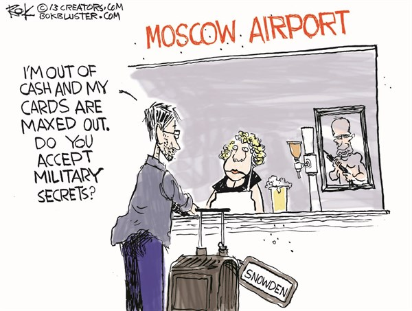 Snowden in Moscow © Chip Bok,The Akron (Ohio) Beacon Journal,snowden,logic,criminal,tratitor,snooping,classified,destroy,treason,hide,nsa,camouflage,moscow,russia,edward-snowden
