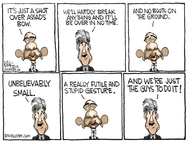 Unbelievably Small © Chip Bok,The Akron (Ohio) Beacon Journal,obama,small,john kerry,war,soldiers,assad,war-with-syria