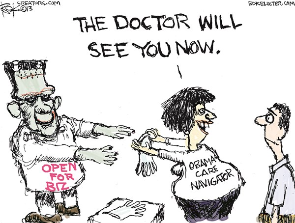 Obamacare Navigator © Chip Bok,The Akron (Ohio) Beacon Journal,obamacare,navigator,doctor,insurance