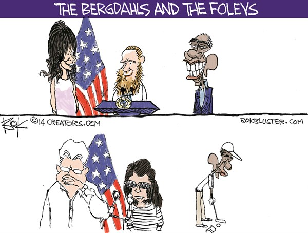 Bergdahls and the Foleys © Chip Bok,The Akron (Ohio) Beacon Journal,bergdahl,foley,obama,golf,obama-golfs